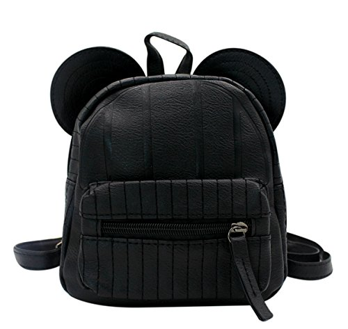 Hossty - Bolso mochila de Piel Sintética para mujer Negro