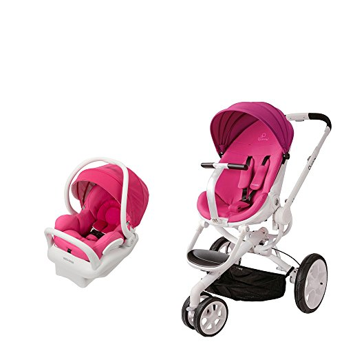 Quinny Travel System: Moodd Stroller Pink Pasison & Mico Max 30 Infant Car Seat White Collection Pink Berry
