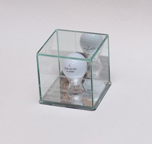 Golf Ball Hole in One Laser Etched Glass Display Case