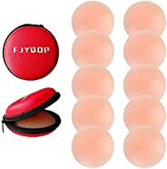 FJYQOP Silicone Nipple Covers - 5 Pairs, Women's Reusable Adhesive Invisible Pasties Nippleless Covers R