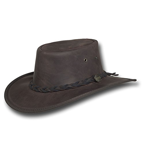 (Barmah Hats Squashy Bronco Leather Hat 1022BL/1022CH - Chocolate - Large)