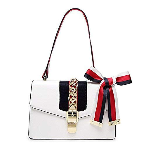 Beatfull Mini Handbags for Women, Fashion Shoulder Bag Cross Body Bag with a Bow Tie (White)