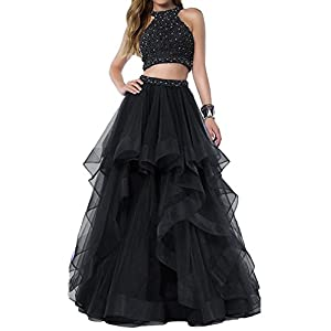 Bonnie Gorgeous Beaded Bodice Prom Dresses Long 2 Piece Sexy Open Back Ball Gowns BS005