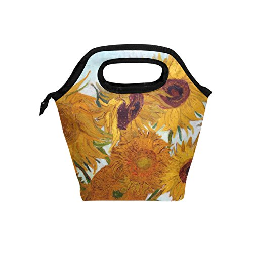 Van Gogh Sunflower Lunch Bag Tote Handbag lunchbox Food Container Gourmet Bento Coole Tote Cooler warm Pouch For Travel Picnic School Office