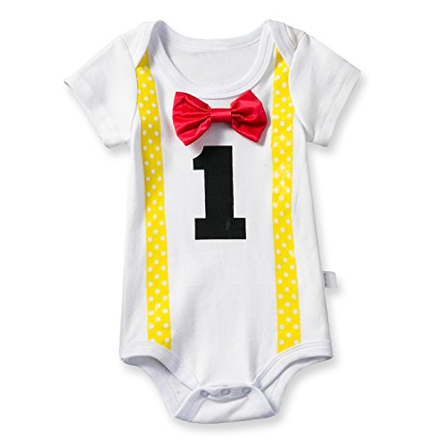 NNJXD Baby Boys' Funny First Birthday Bow Tie Infant Romper Bodysuit Size (1 Years) Red&Yellow]()