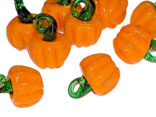 1pc tiny Miniature Halloween PUMPKINS Glass Fruit Lampwork pendant charm bead NW Jewelry Making Supply Pendant Bracelet DIY Crafting by Wholesale Charms -