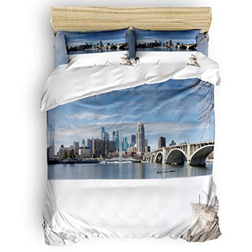 T&H Home 4 Pcs Bedding Sets, Minneapolis Snow Scene Down Comforter Cover/Flat Sheet with Matching Pillowcases for Adults Teens Kids Twin Size ()