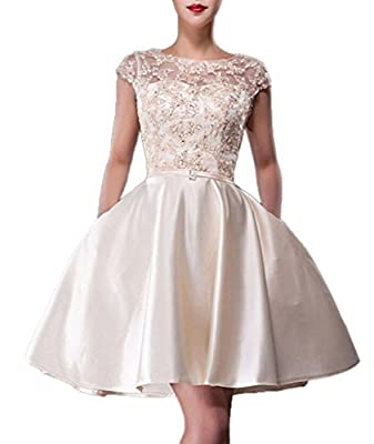 Fanhao Women's Bateau Neck Lace Beading Pockets Short Wedding Gown Bridal Dress
