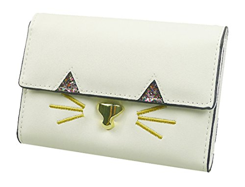 Kukubird Kitty Cara Largo Partido Bolsa De Embrague Bolsa Monedero Cartera white