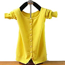Friendshiy Cashmere Sweater For Women Cardigan Sweaters O Neck Autumn Knitted Coat Slim Small Yellow
