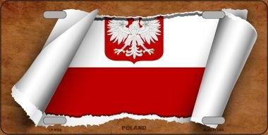 Poland/Eagle Flag Scroll Novelty Metal License Plate LP-9109 -