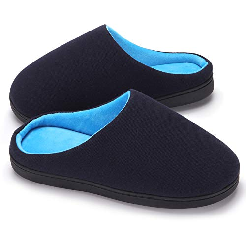 AMAWEI Mens Two-Tone Memory Foam Slippers Anti-Slip House Slippers Shoes Indoor & Outdoor (42/43, Navy/Sky Blue)