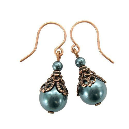 - Dark Teal Swarovski Crystal Simulated Pearl Earrings