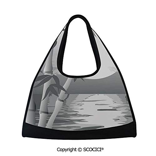 Fitness bag,Stem of the Bamboo Plant by the River in Full Moon at Night Twilight Horizon Artful Print,Bag for Women and Men(18.5x6.7x20 in) Grey