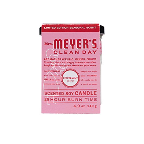 (Mrs. Meyer's Clean Day Scented Soy Candle, Small Glass, Peppermint, 4.9 Oz)