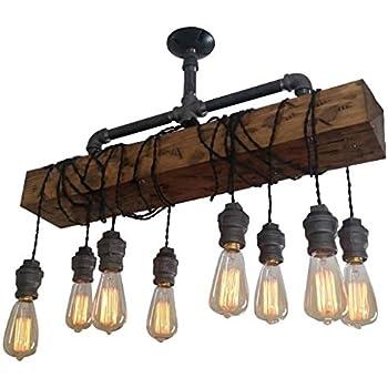 LNC Wood Pendant Lighting 5-light Glass Mason Jar Ceiling