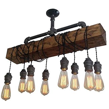 Industrial Rustic Wood Beam Linear Island Pendant Light 8 Light