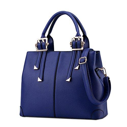 DELEY Diseño Simple Mujeres Europa Bolsa De Hombro Inclinado Totalizador Bolso Comprador Bols Azul Oscuro