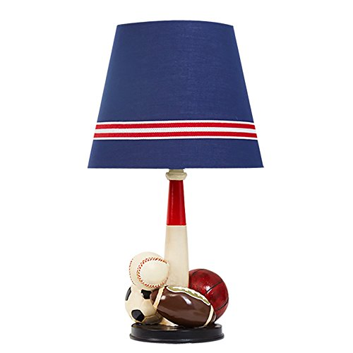 Children bedroom decoration table lamp student soccer resin base and fabric bedside creative desk light by Table lamp