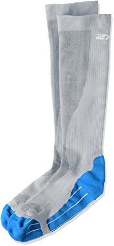 2XU Men's Performance Compression Run Sock, Limestone Gray/Vibrant Blue, X-Small by 2XU (Image #1)