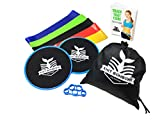 Dual Sided Exercise Core Sliders Set (Set of 5) for Carpet and Hard Floors, Finger Strengthener, Gliding Discs with Resistance Bands for 80 day obsession and Abs Abdominal workout