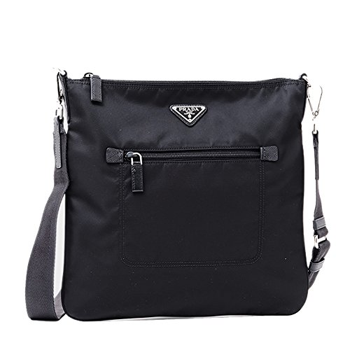 Prada Nylon Messenger Bag Crossbody Black 1BH715 by Prada