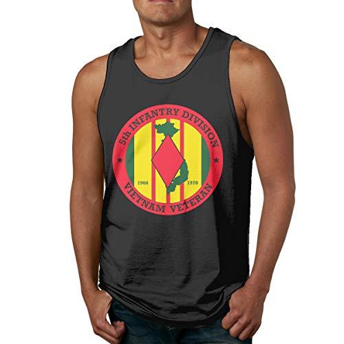 - Men's 5th Infantry Division Vietnam Tank Top Summer Sport Gym Tees Black