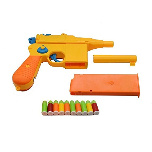 Ferbixo Toy Gun, Mauser c96 Shiny Colorful Pistol with Set of Soft Bullets and Animal Empire Ring Set - Safe for Outdoor Fun Summer Play-Best for,Cap Gun, Foam Dart Gun