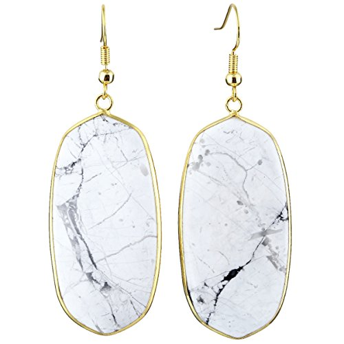 SUNYIK Women's White Howlite Turquoise Oval Dangle Earrings Gold Plated ()