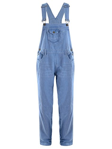 Anna-Kaci Womens Vintage Wash Straight Leg Denim Overalls with Pocket Bib, Light Denim, Small/Medium