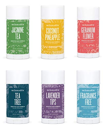 Schmidt's Deodorant Stick 3.25 Oz Variety Pack - 6 Scent's, Jasmine Tea, Coconut Pineapple, Geranium Flower, Tea Tree, Lavender Tips, Fragrance-Free,