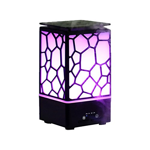TOMNEW Essential Oil Diffuser 200ml Aromatherapy Humidifier Cool Mist Ultrasonic Aroma Diffuser with 7 Color Romantic Warm Lights Changing and Waterless Auto Shut-Off for Home (Black)