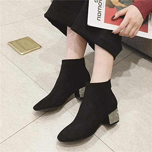 LBTSQ Fashion Damenschuhe Damenschuhe Damenschuhe Wasser Läuft Stiefel Heel 4Cm Dicke Sohle Nahen Ferse Wildleder Reißverschluss Mode - Flut 7ef10f