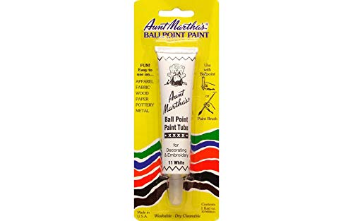 Aunt Martha's Ballpoint Paint Tube, 1-Ounce, White