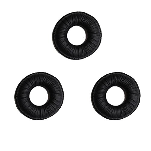 Global Teck Leatherette Ear Pads 3-Pack | for Plantronics CS50, CS55, CS60 Cordless | Jabra/GN 2100, 2110, 2124, 2125, 9300, 9330, 9350 | Mitel Headset - 5330, 5340, 5360 | -
