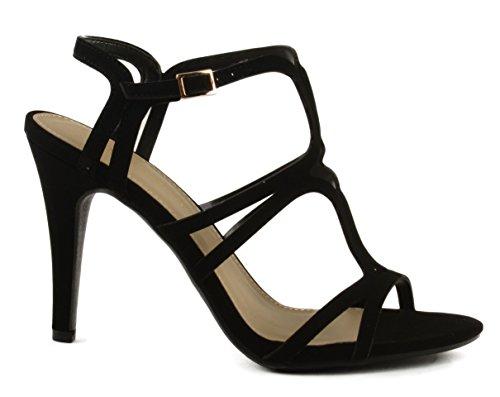 Borsa Da Donna Classificata Tarita Fusa Incrociata Con Cinturino Sul Sandalo Col Tacco Nero