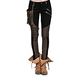 Kulee Punk Women Patchwork Small Bag Motorcycle Stretchy Pencil Leggings