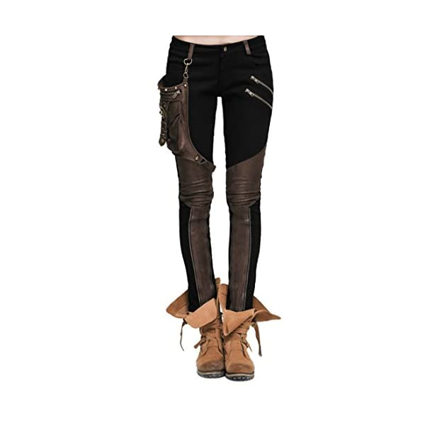 Kulee Punk Women Patchwork Small Bag Motorcycle Stretchy Pencil Leggings 3