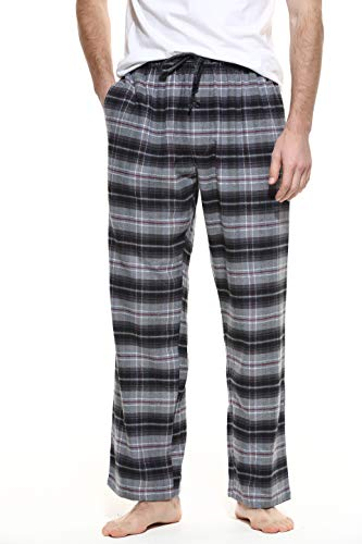 CYZ Men's 100% Cotton Super Soft Flannel Plaid Pajama Pants-TwillBlackRedTartan-XL
