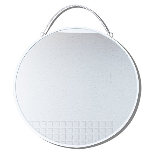 d Metal Framed Mirror with Hanging Chain, Wall Mirror, Decorative Mirror, Diameter 12 inch, Made in Korea (White) ()