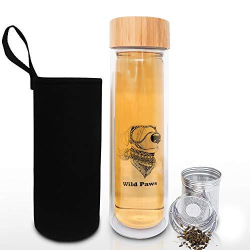 Glass Tea Tumbler with Infuser & Strainer for Loose Leaf or Iced Tea, Coffee, Fruit Water & Matcha. 17oz Cold Brew Coffee Mug w/Bamboo Lid + Travel Sleeve. BPA Free Travel Tea Mug. Dog Lover Gifts