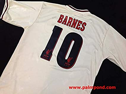 bb527aac802 Retro Barnes 10 Liverpool Away Soccer Jersey 1997 Full Premier Patch (Grey