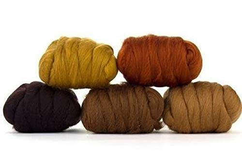 Paradise Fibers Mixed Merino Wool Bag - Barky Brown (Brown) - Merino Wool Fiber Lot Perfect for Needle Felting, Wet Felting, Hand Spinning, and Blending by Paradise Fibers (Image #1)