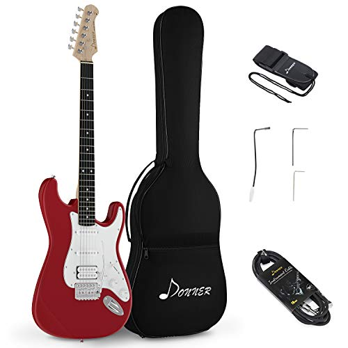 Donner DST-100R Solid Body Full-Size 39 Inch Electric Guitar Kit Red, Beginner Starter, with Bag, Strap, Cable