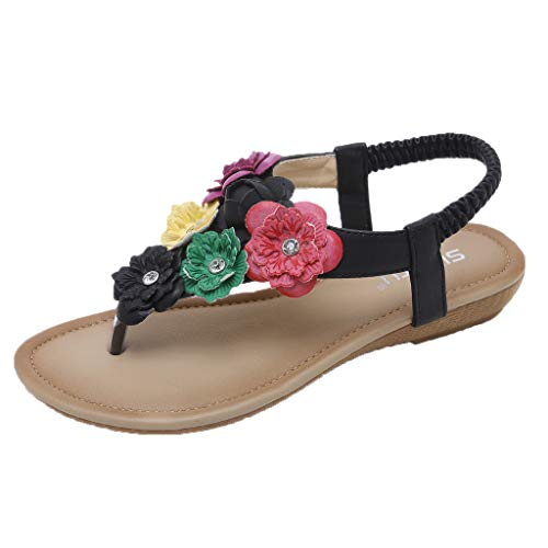 5f99a2abfb3 Gyouanime Flip Flops Sandals Shoes Womens Flower Flats Wedge Comfortable  Beach Dress Shoes Black