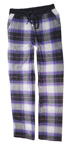 DKNY Women's Flannel Lounge Pants, Lavender Plaid, X-Large