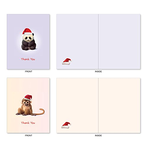 M6726XTB Christmas Zoo Babies: 10 Assorted Blank Christmas Thank You Note Cards Featuring Sweet and Adorable Baby Zoo Animals, w/White Envelopes. Photo #6