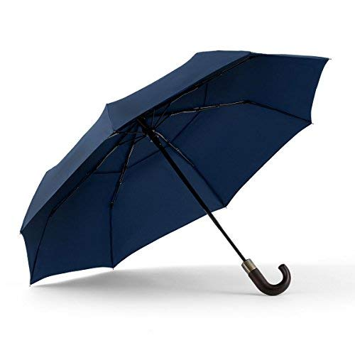 Plain Curved Handle - ShedRain WindPro Vented Auto Open Auto Close Compact Umbrella with Curved Wood Handle