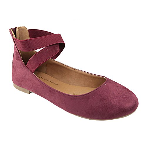 Women's Classic Ballerina Flats with Elastic Crossing Ankle Straps Ballet Flat Yoga Flat Shoes Slip On Loafers Burgundy 8 (Burgandy Shoes)