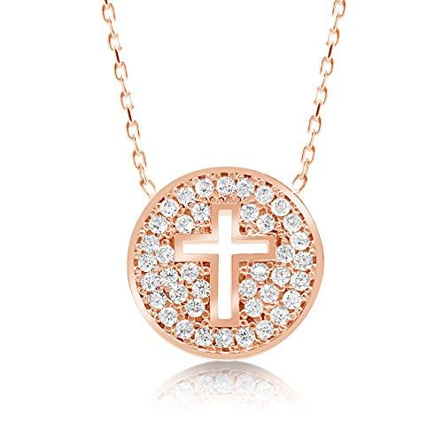 Round Cross Necklace in 14k Rose Gold Vermeil With Adjustable Chain for Women | Alef Bet by Paula